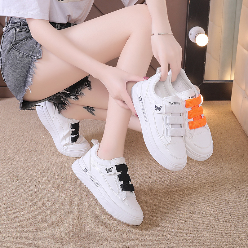 Shoes women 2020 autumn new rainbow lace sports shoes womens Korean version of versatile thick soled Velcro small white shoes trend