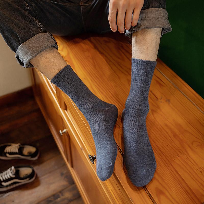 袜子男中筒袜ins潮流百搭纯色夏天薄款纯棉防臭吸汗透气男士长袜