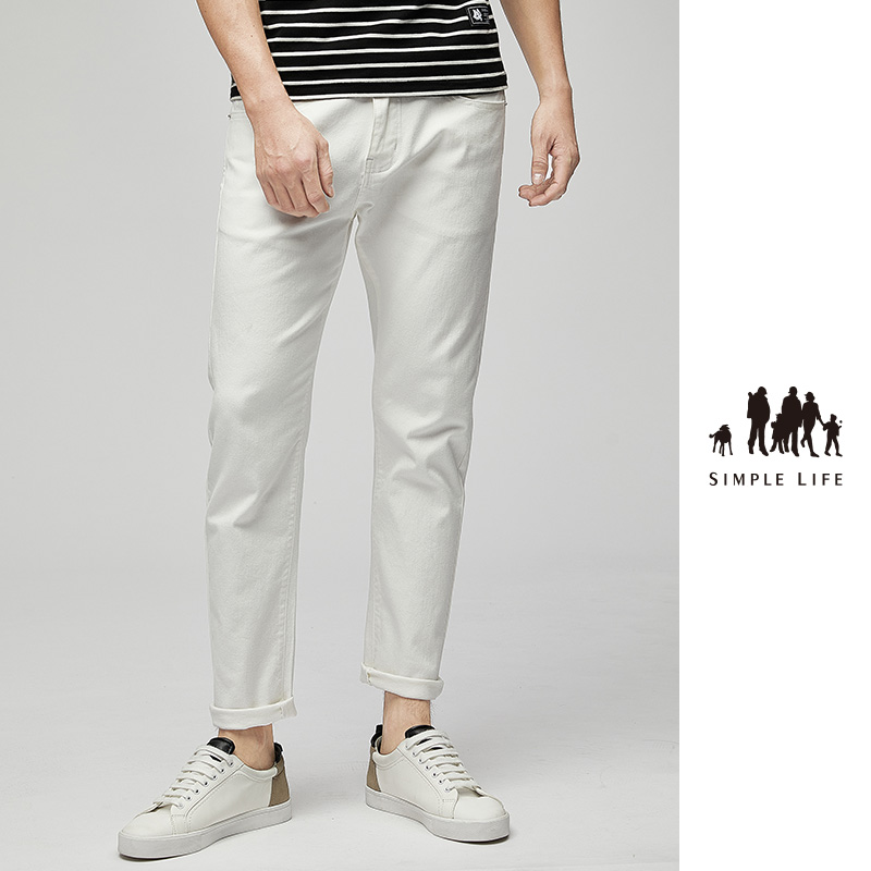 Simple life summer thin mens Capris jeans mens straight loose casual white pants