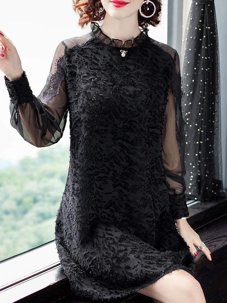 长袖雪纺衫中长款女洋气春秋新款韩版宽松蕾丝上衣加绒遮肚打底衫