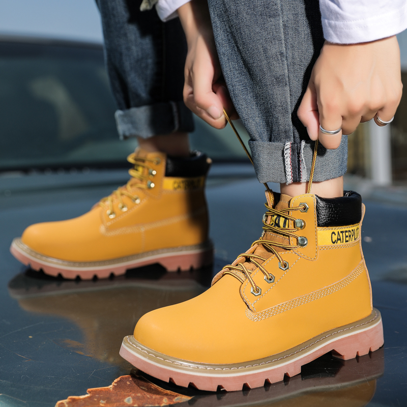 Cat mens shoes high top Martin boot card special agent shoes casual leather short boots breathable autumn and winter outdoor work clothes boots
