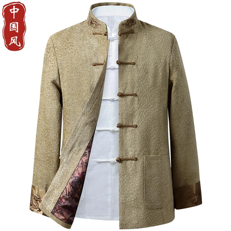 Spring and autumn mens Tang suit coat Chinese style stand collar Chinese style disc buckle retro coat middle-aged and elderly loose dad suit