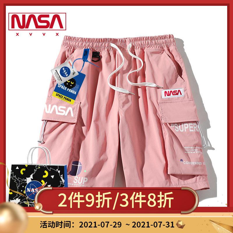 nasa联名日系2021年新款夏季新品工装短裤男休闲宽松抽绳5五分裤