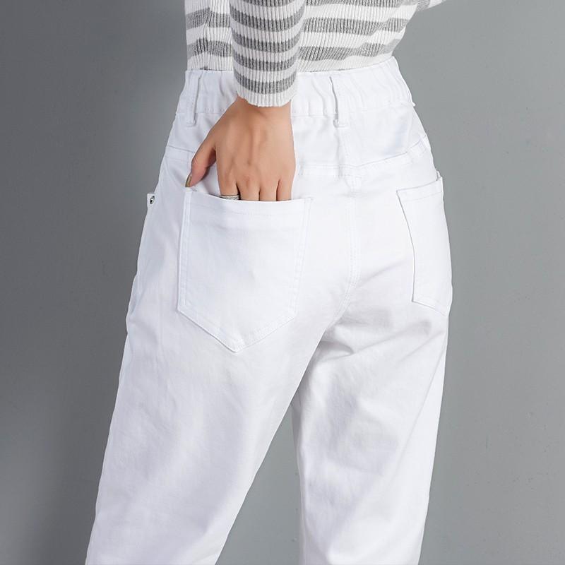 白色牛仔裤女夏薄款休闲松紧高腰直筒阔腿裤女士九分裤宽松哈伦裤图片