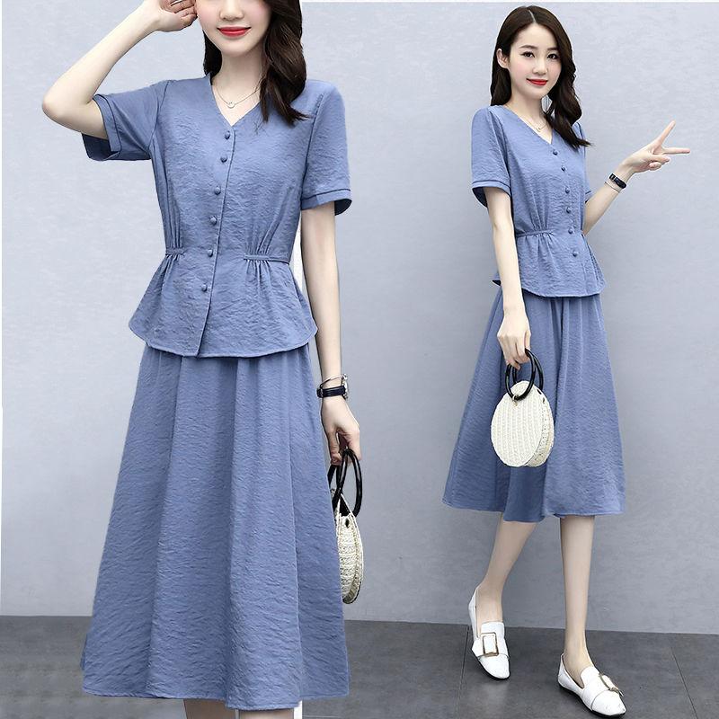 悟江南2021年休闲套装女夏季新款宽松纯色气质轻熟风半身裙两件套