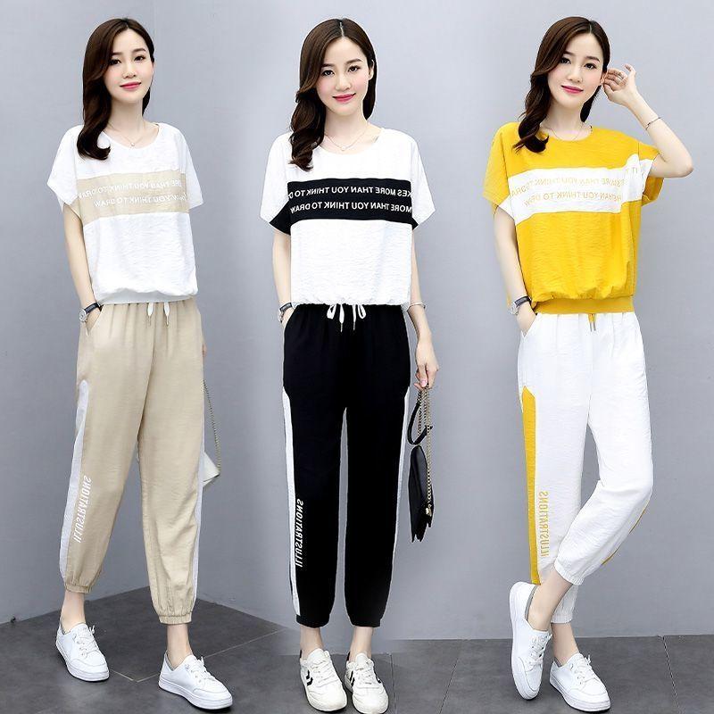 悟江南时尚套装女夏装2021新款女装大码宽松减龄休闲运动两件套潮