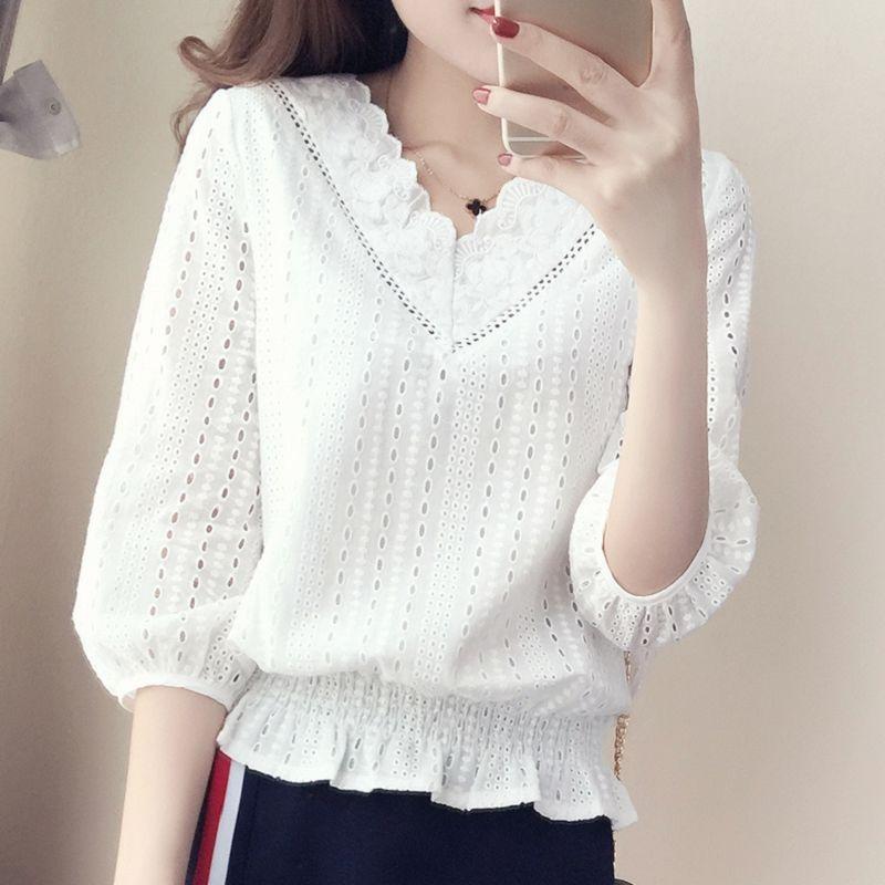 优质面料蕾丝上衣女2020春秋新款韩版女装显瘦女式小衫打底蕾丝衫