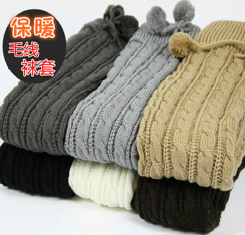 Twist lengthened wool boot cover ball over knee high tube warm pile socks knitted women
