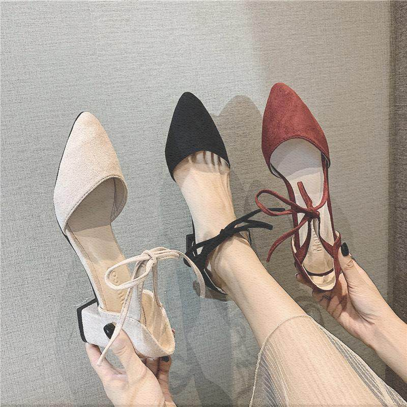 Baotou sandals womens fashion summer 2019 new pointed thick heel lace up fashion late evening wind middle heel high heels