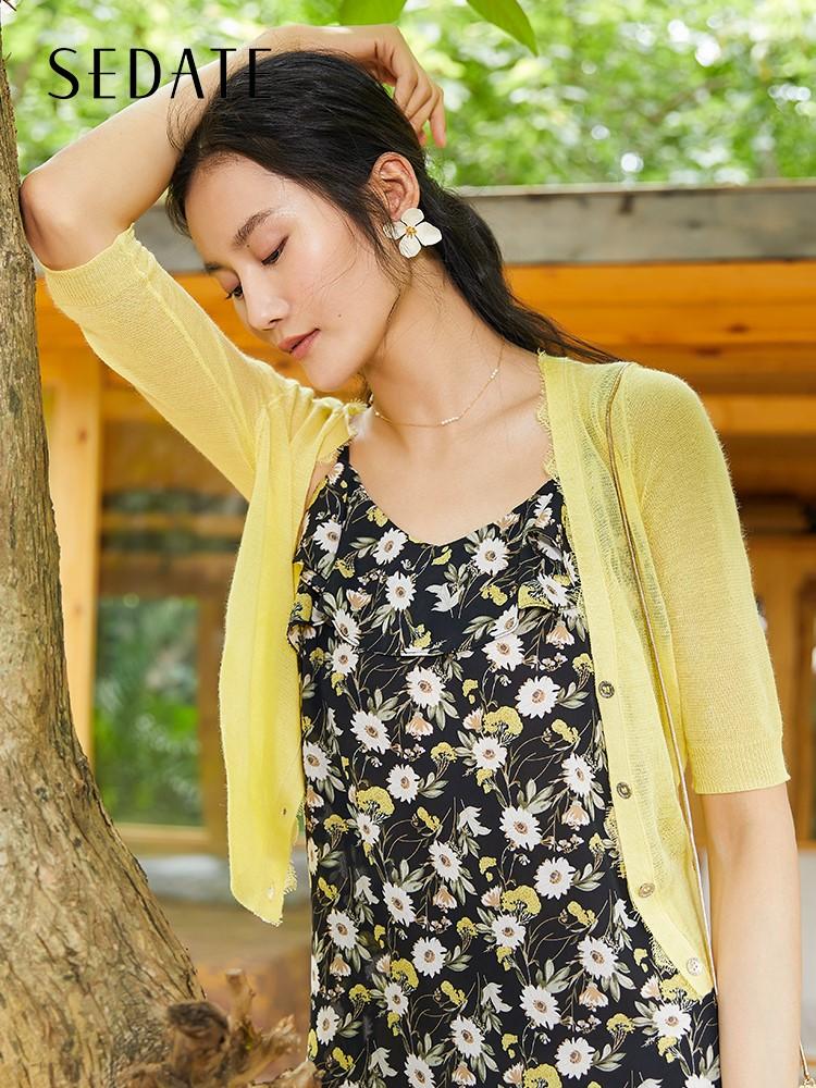水云间夏季新款麻外套冰丝针织衫女短款空调薄外搭小开衫半袖