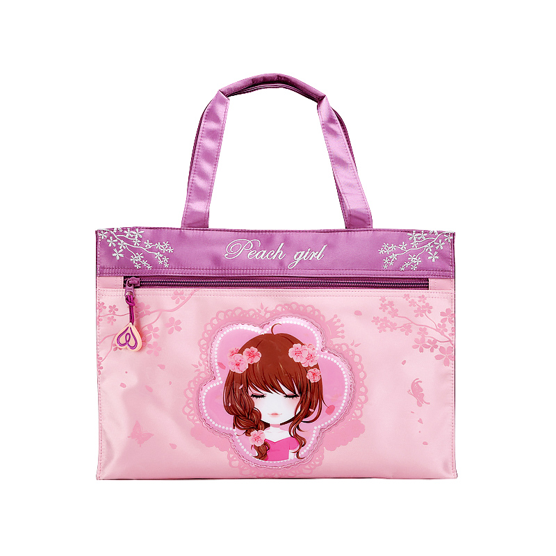 Peach Blossom Girl Pink Girl primary school childrens hand-held practice lunch bag tutorial bag document bag handbag
