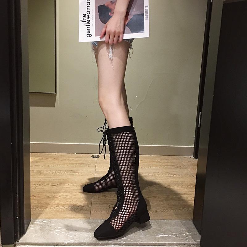 2020夏季新款粗跟网靴子女镂空高跟真皮网红春秋高筒系带罗马凉鞋