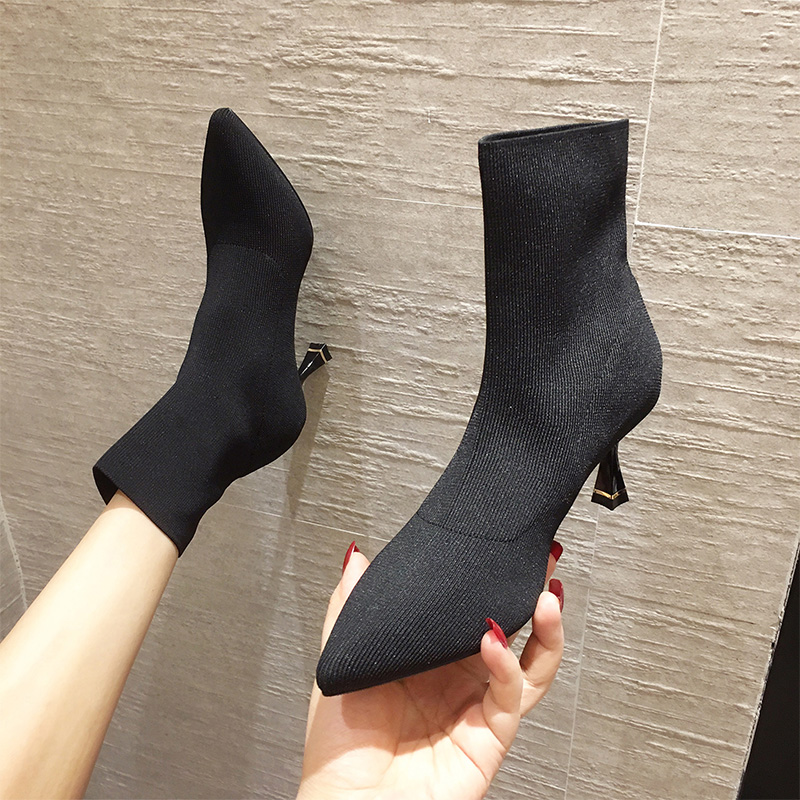 Children of boots new autumn 2020 pointed thin heel elastic short boots thin boots high heeled Martin boots versatile socks boots
