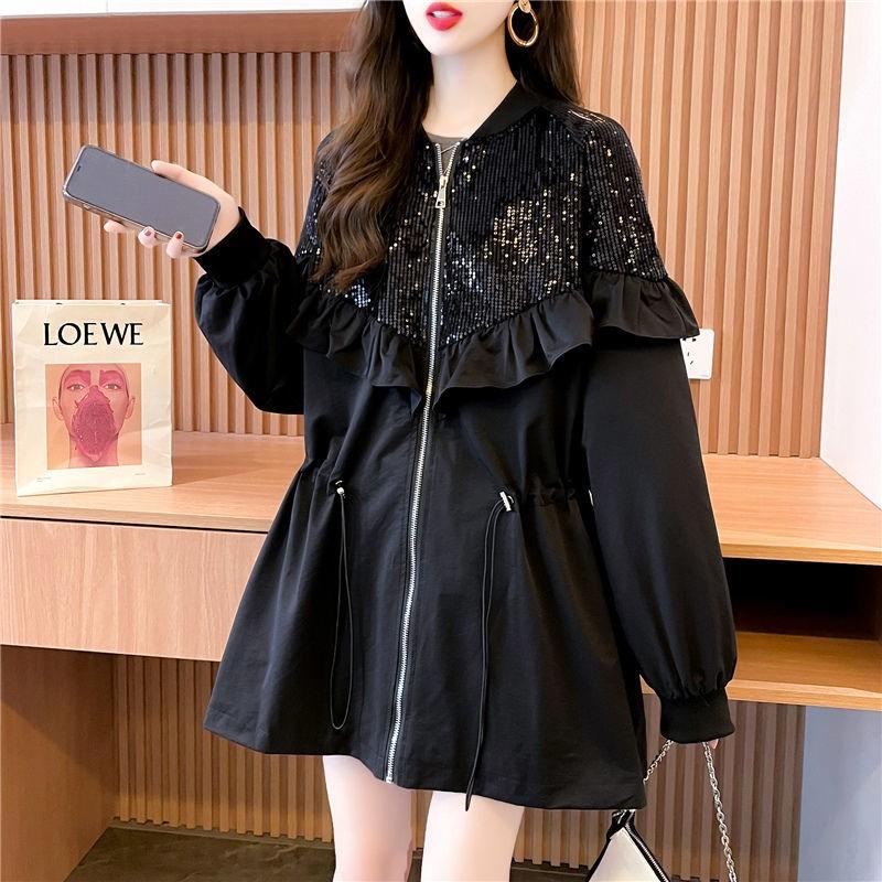 潮牌2021秋季新款女装设计感荷叶边拉链开衫宽松亮片刺绣夹克外套