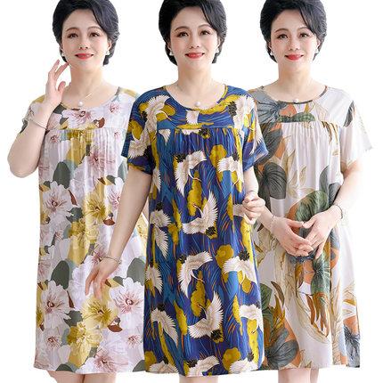 中老年棉绸睡裙女夏天中年妈妈人造棉纯棉连衣裙大码睡衣薄款夏季