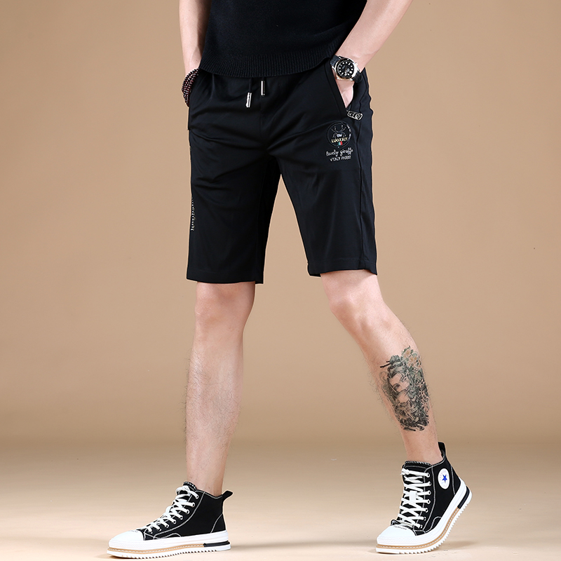 Summer slim fit embroidered five point casual pants elastic sports new mens 2021 versatile Korean thin shorts trend