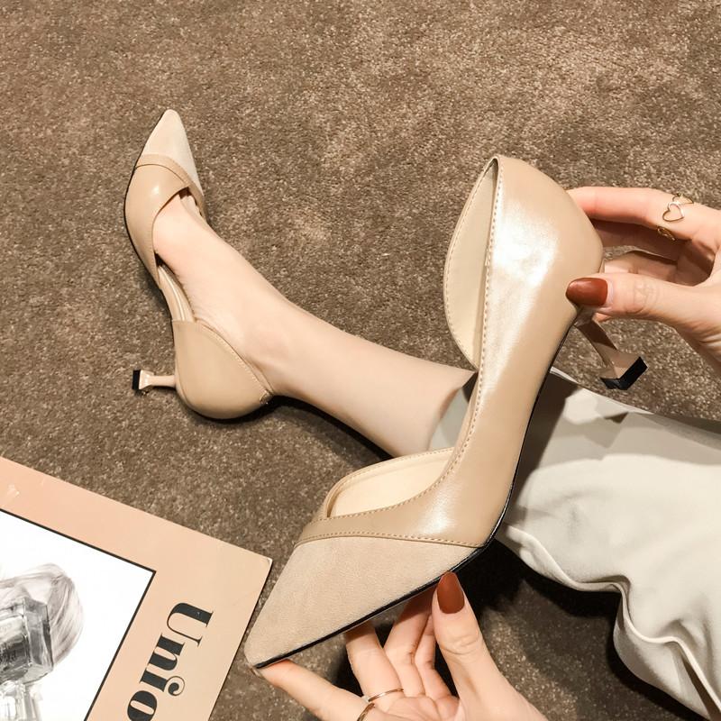 高跟鞋2020春款百搭细跟尖头网红裸色猫跟鞋女侧空李溪芮同款女鞋