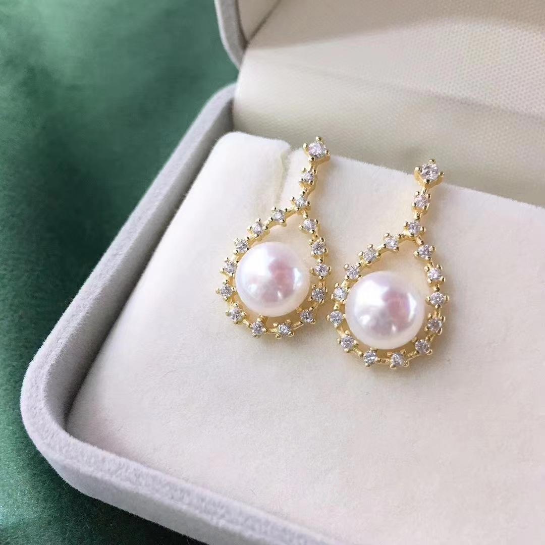 超越珠宝 纯银耳钉 搭配7-8mm天然淡水珍珠 微镶锆石 时尚精美款