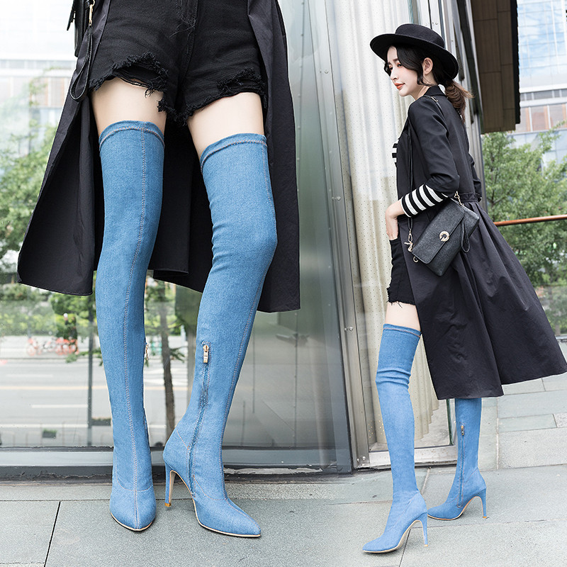 Boots childrens new versatile boots fall / winter 2020 ins fashion high heel pointed toe foreign trade elastic Knights boots