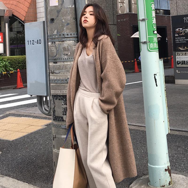 Knitted Cardigan Jacket Women 2020 new autumn winter versatile Korean loose retro thickened medium length sweater
