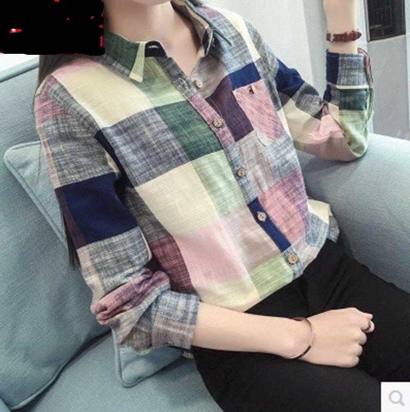 Spring and Autumn New Womens Linen bottomed shirt womens long sleeve summer thin cotton linen plaid shirt with top