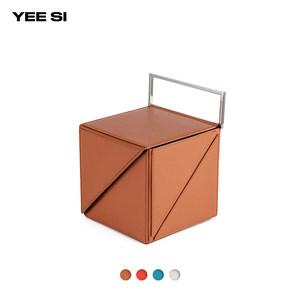 YEE SI热销几何设计 Cube Classic 折叠方形金属手提斜挎牛皮包
