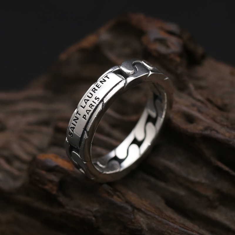S925 sterling silver jewelry single ring personalized chain ring mens and womens old index finger ring fashion Thai silver ring
