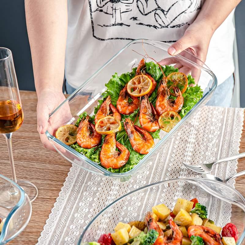 耐热钢化玻璃盘菜盘微波炉烤箱专用长方形圆形盘子家用餐具套装