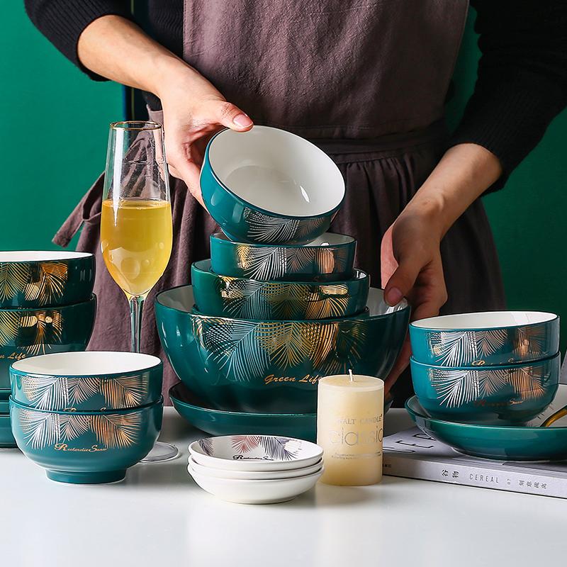 碗碟套装家用日式北欧网红ins10碗盘碗筷组合高档轻奢餐具陶瓷碗图片