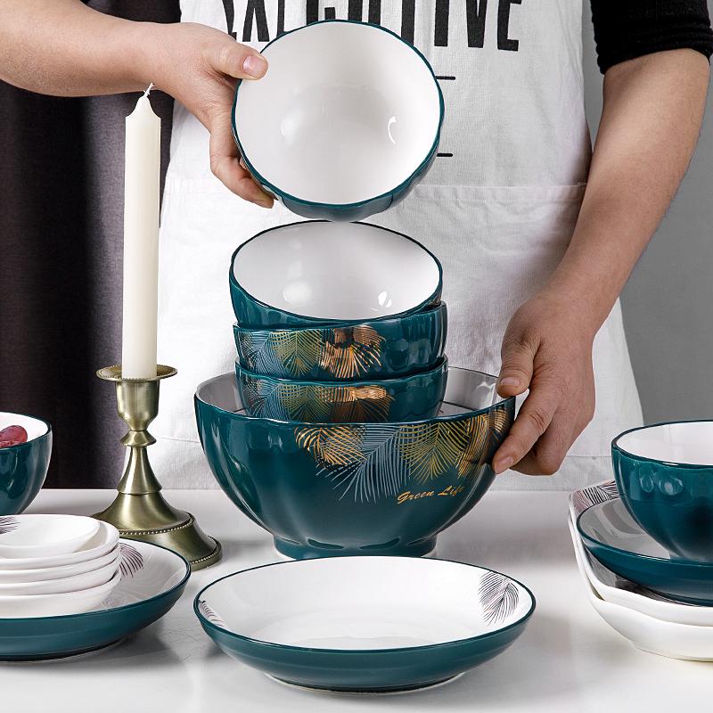 碗碟套装家用日式北欧网红ins10碗盘组合简约轻奢现代餐具陶瓷碗