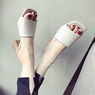 欧洲站时尚白色女鞋2020新款夏季新品高跟凉鞋粗跟大码气质凉拖鞋
