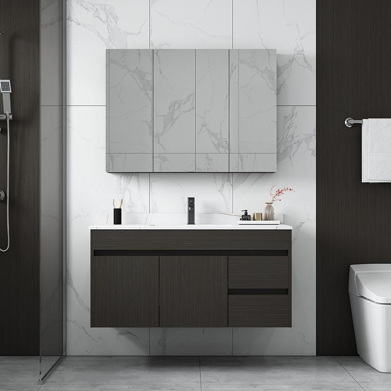 浴室柜组合智能套装轻奢现代简约卫生间实木岩板洗手脸盆洗漱台柜