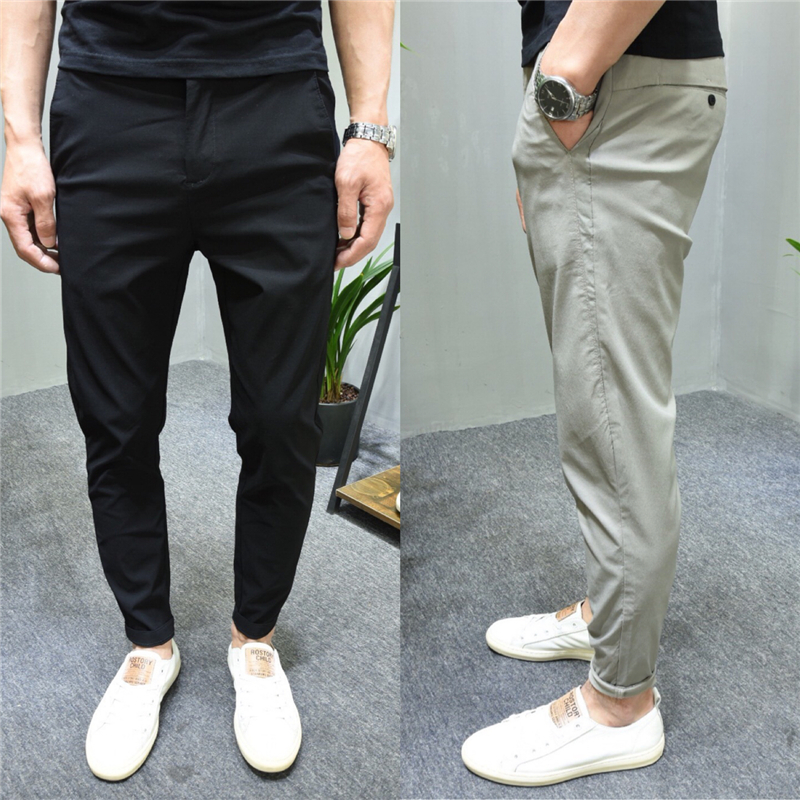 2020 summer new mens casual pants solid color simple and versatile trend youth elastic cotton comfortable slim Leggings