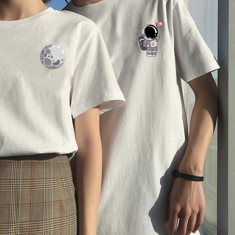 航天员主题系列纯棉情侣装2021年夏季港风短袖T恤女宽松百搭上衣