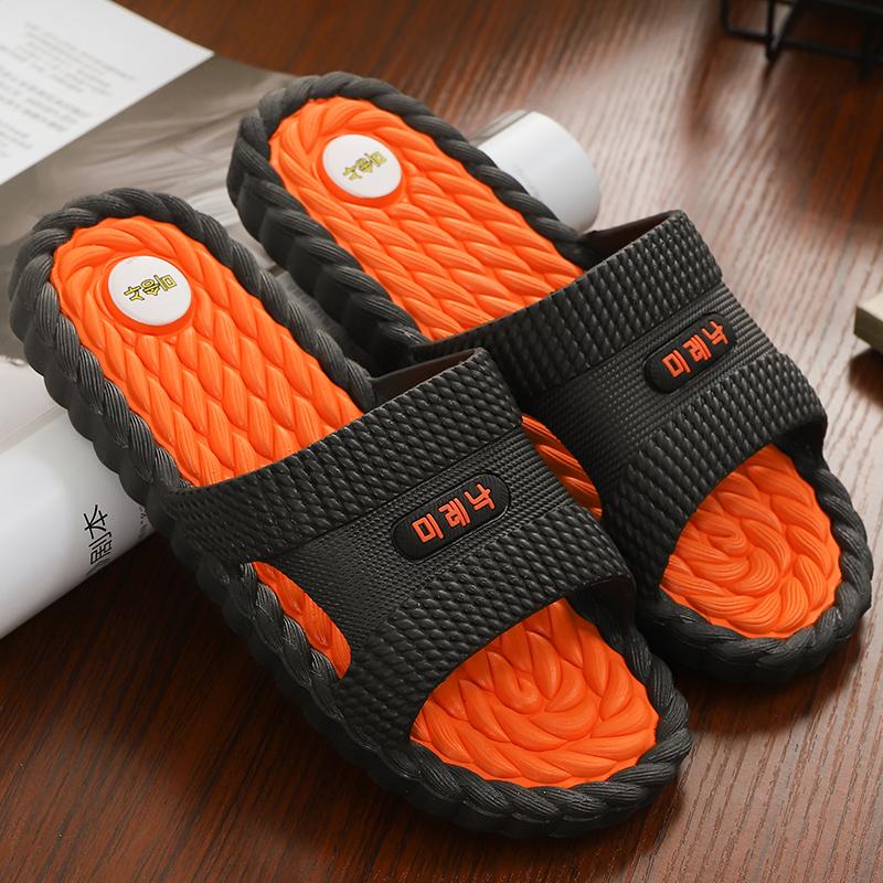 韩版时尚凉拖鞋家用男夏季防滑室内浴室洗澡家居按摩拖鞋男士外穿