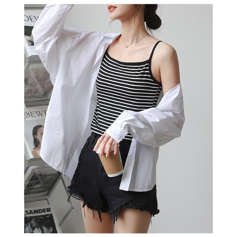 莫代尔条纹吊带背心女夏季新款韩版性感修身基础款打底内搭上衣