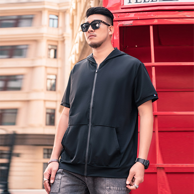 Solothink ice silk short sleeve mens summer hooded T-shirt loose and fattening, sports fat zipper cardigan
