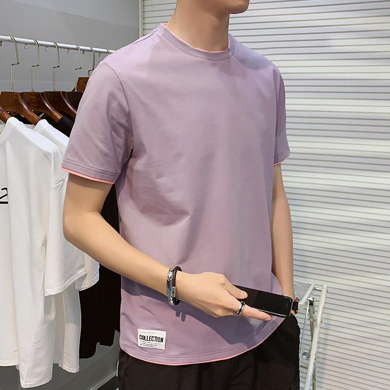 夏メンズ半袖Tシャツ2つのトレンドブランドのゆったり綿服2020新型Tシャツ男性