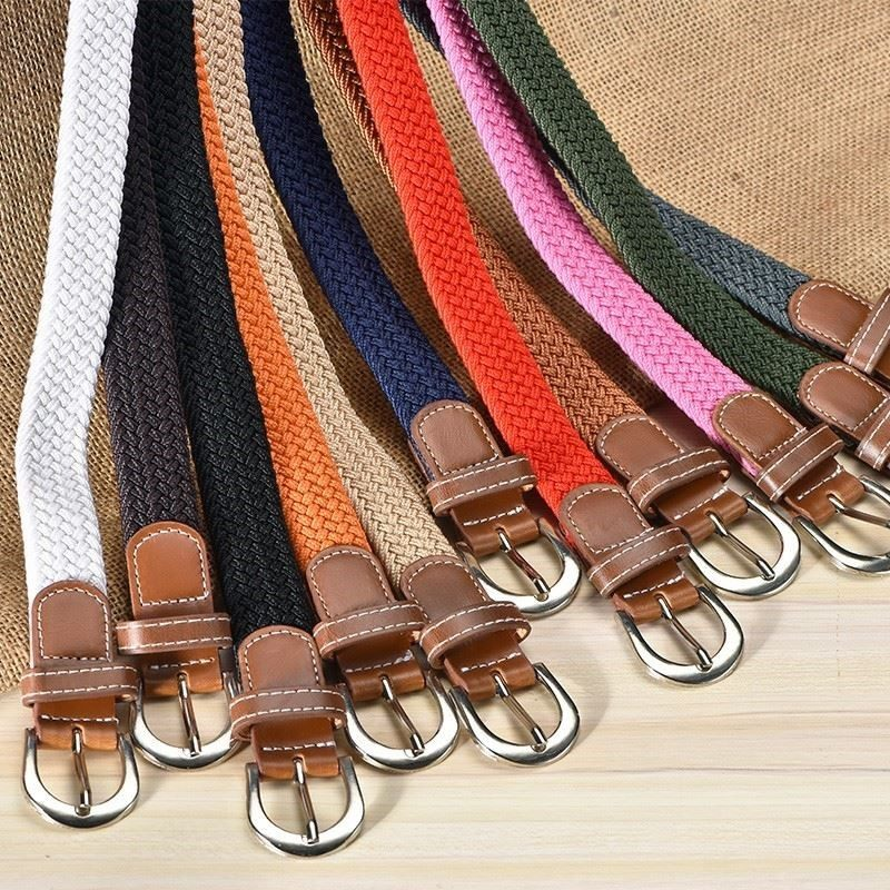 Mens fashion middle-aged trouser belt womens cloth strip canvas elastic student trouser belt girls red knitting men and women