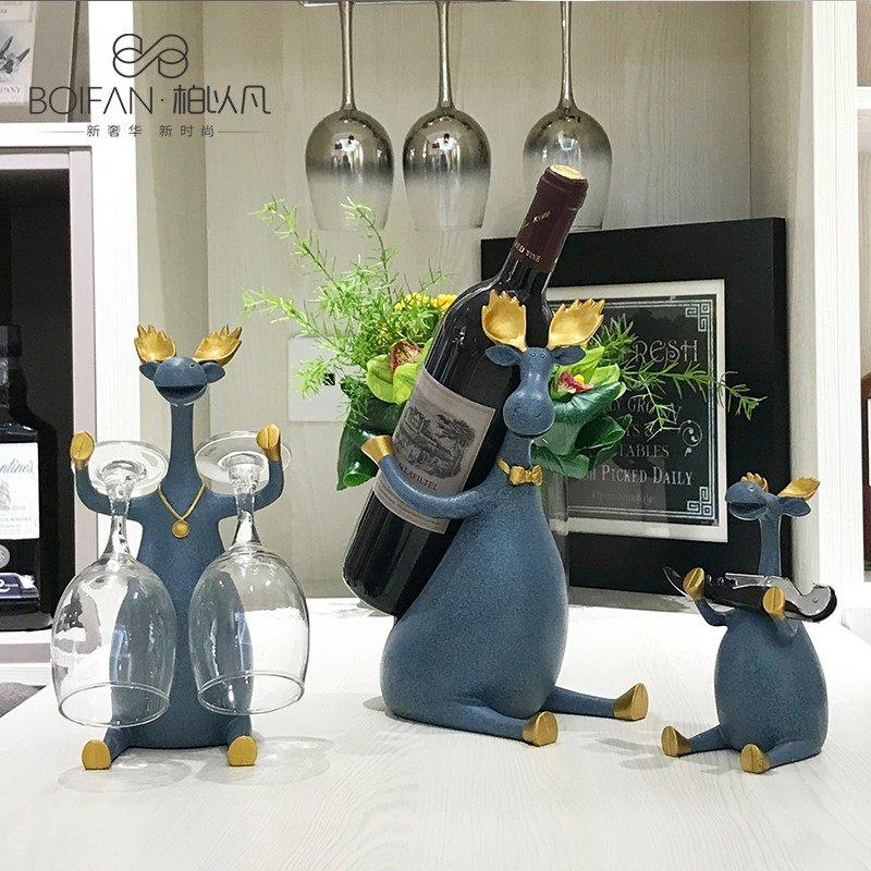 北欧创意红酒架摆件客厅酒柜家居装饰品现代鹿乔迁新居礼品
