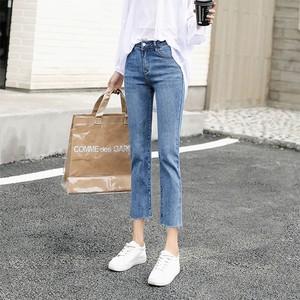 牛仔裤女夏季薄款直筒宽松七分高腰显瘦九分2020新款潮八分小个子