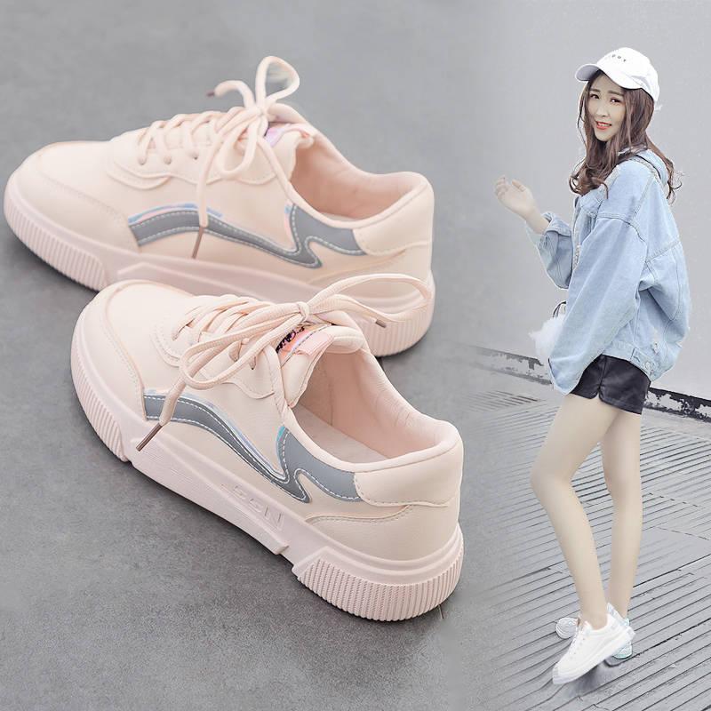 新款百搭小白鞋女平底低帮休板鞋子