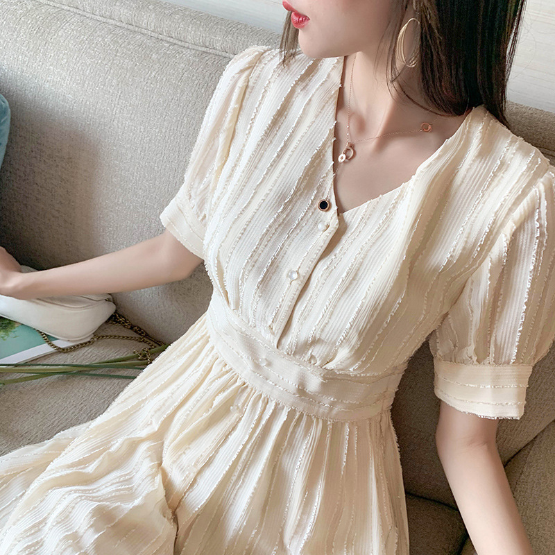 Summer new Korean French retro dress 2020 fashion temperament versatile waist closing Short Sleeve Chiffon Dress