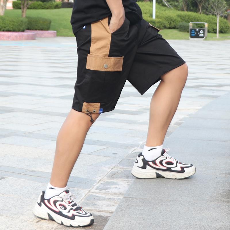 轻奢男装潮牌5分裤男宽松潮流百搭撞色纯棉裤子工装短裤男夏外穿