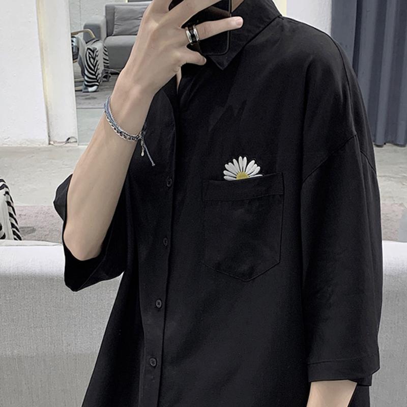 痞帅衬衫男港风日系很仙的潮流宽松小雏菊设计高级感坠感衬衣外搭