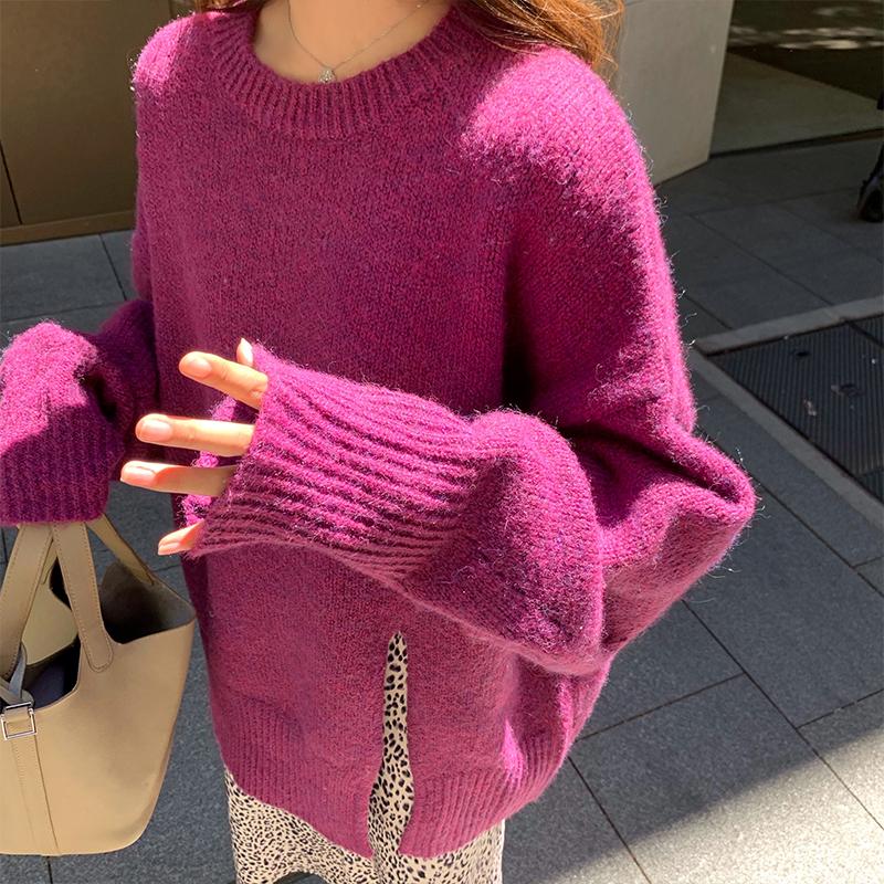 6296#林珊珊同款寬松純色毛衣女下擺開叉中長款慵懶風針織衫韓版