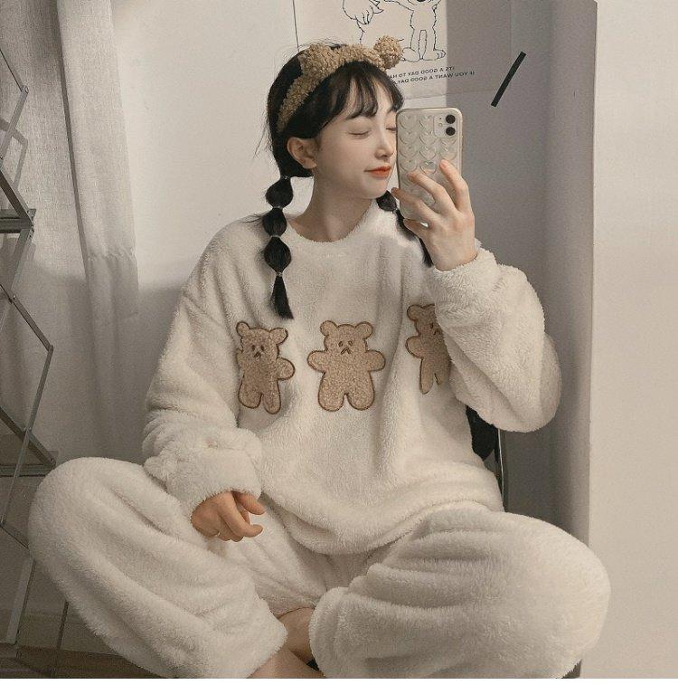 冬季新款珊瑚絨韓版法蘭絨女士卡通睡衣兩件套可外穿家居服