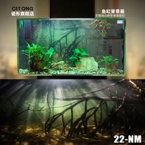 鱼缸背景纸3d立体高清图贴画造景水族箱壁纸南美亚马逊沉木森林