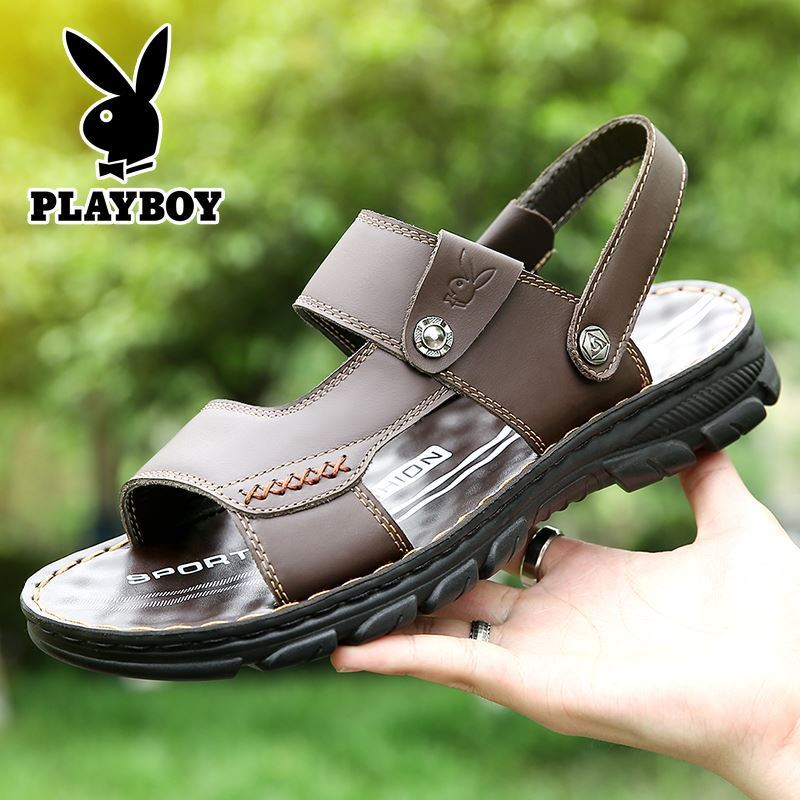 Playboy leather sandals mens leather Baotou middle aged and elderly dad leisure soft soled ox tendon bottom Oxford Velcro