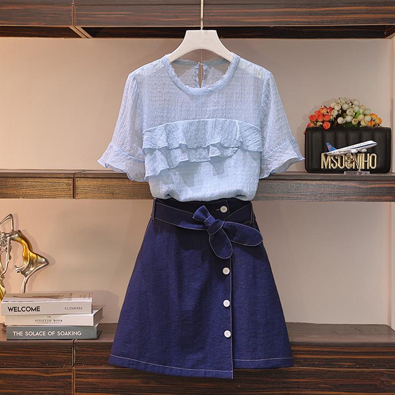 大码女装2020夏季新款胖mm显瘦衬衫上衣遮肚a字裙半身裙微胖套装
